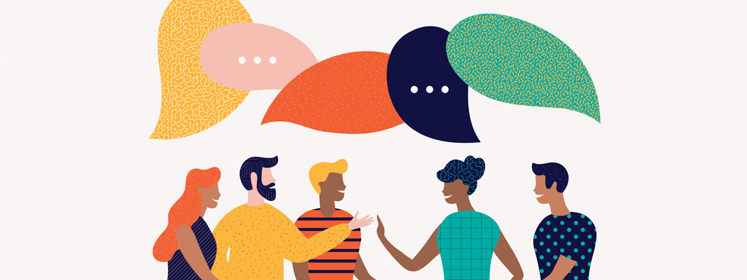 Illustration of multiple people with word bubbles above their heads engaging in a discussion