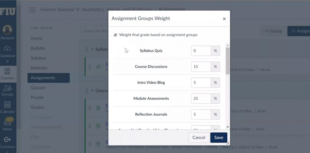 Screen capture of the assignment of group weight feature on Canvas