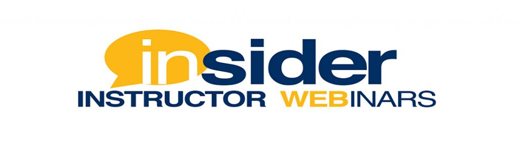 Blue and yellow Insider Instructor Webinars branding image.