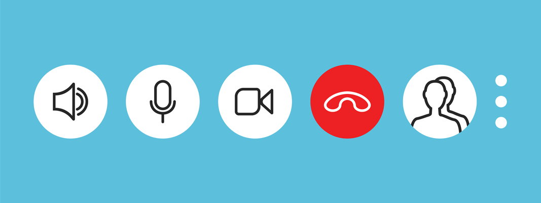 Video conference setting icons (volume, mute, video)