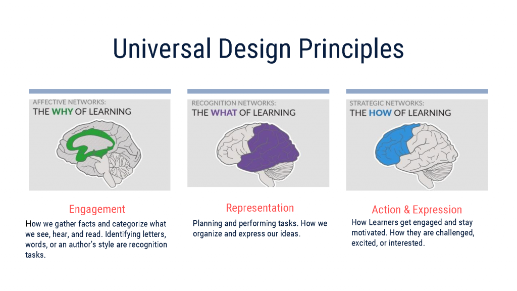 The three principles of Universal Design are Engagement, Representation, and Action and Expression. They each represent the why, the what, and the how of learning that help support students with disabilities.