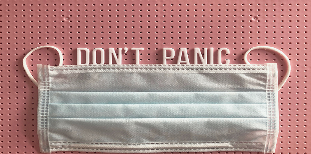 """Face mask with the words """"Don't Panic"""""""