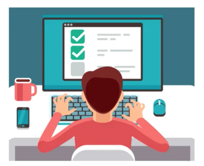 person typing for quality online course design