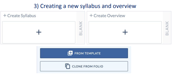Blank +Create Syllabus and +Create Overview card icons and the options to copy from template and clone from folio in CreatorPro LTI